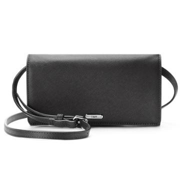 Chaps Kaelyn Saffiano Flap Crossbody Bag, Women's, Black
