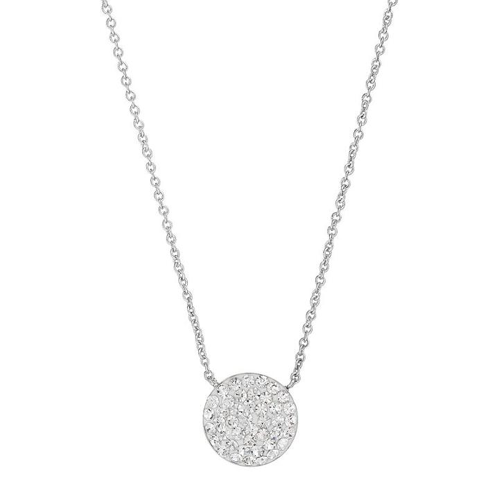 Silver Luxuries Silver Tone Crystal Disc Pendant Necklace, Women's, White
