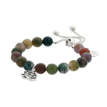 Love This Life Jasper Bead & Lotus Flower Charm Bolo Bracelet, Women's, Green