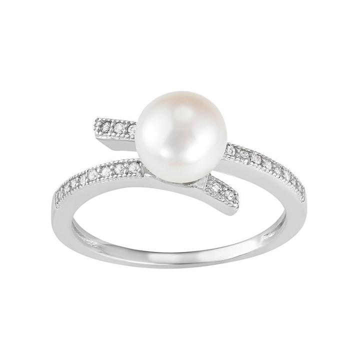 Sterling Silver Freshwater Cultured Pearl & Lab-created White Sapphire Bypass Ring, Women's, Size: 7