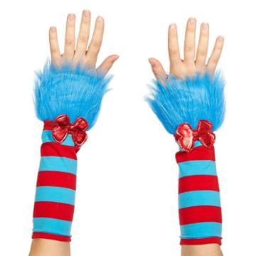 Adult Cat In The Hat Thing 1 Or Thing 2 Striped Fuzzy Costume Glovettes, Women's, Blue