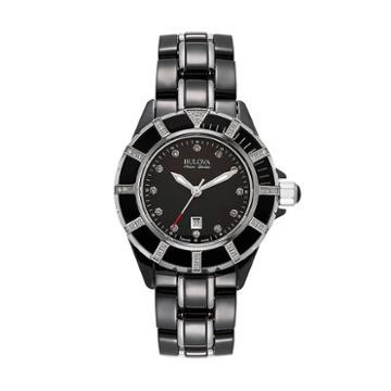 Bulova Women's Accu Swiss Diamond Stainless Steel & Ceramic Watch - 65r156, Black