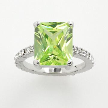 Silver Tone Simulated Peridot And Cubic Zirconia Ring, Size: 7, Green