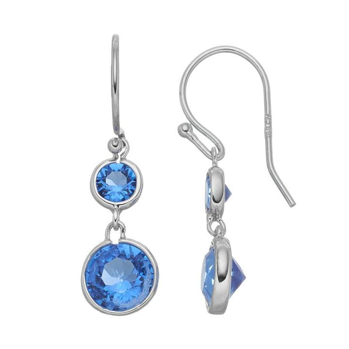 Brilliance Drop Earrings With Swarovski Crystals, Women's, Blue