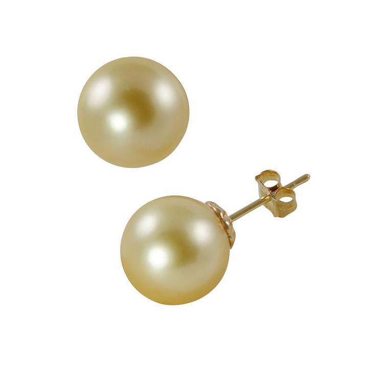 14k Gold South Sea Cultured Pearl Stud Earrings, Women's, Yellow