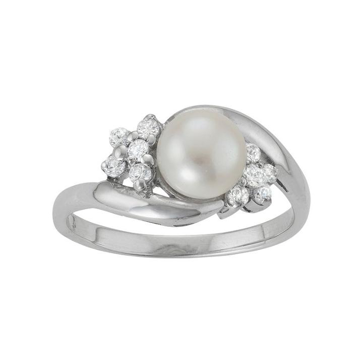 Sterling Silver Freshwater Cultured Pearl & Cubic Zirconia Bypass Ring, Women's, Size: 7, White