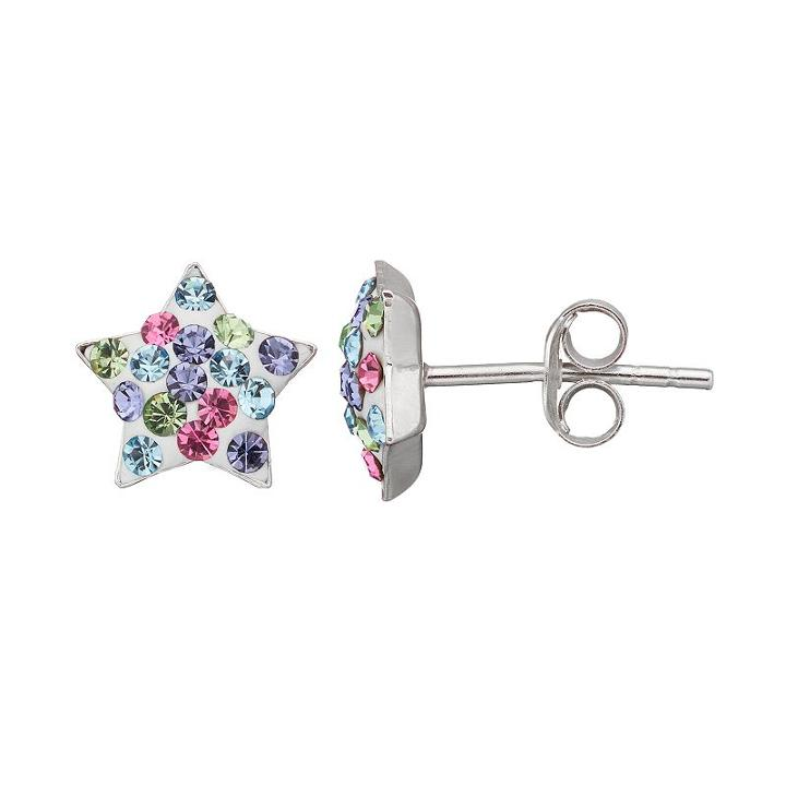 Charming Girl Crystal Sterling Silver Kid's Star Stud Earrings - Made With Swarovski Crystals, Multicolor