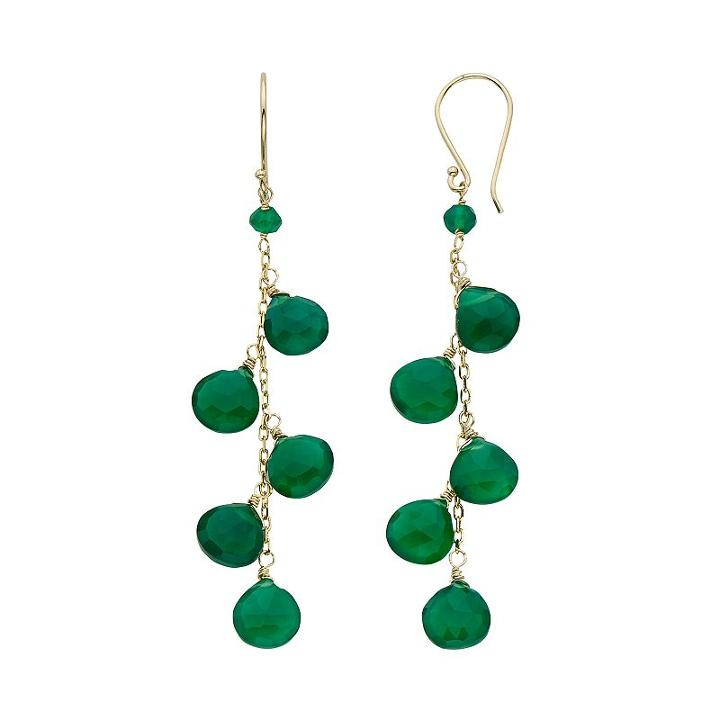 Green Onyx 14k Gold Drop Earrings, Women's