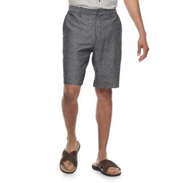 Men's Marc Anthony Slim-fit Herringbone Linen-blend Shorts, Size: 42, Black
