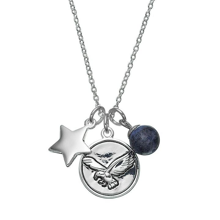 Love This Life Sodalite Silver-plated Star & Eagle Disc Charm Pendant Necklace, Women's, Grey