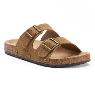 Mudd® Women's Double Buckle Slide Sandals, Size: Medium, Dark Brown