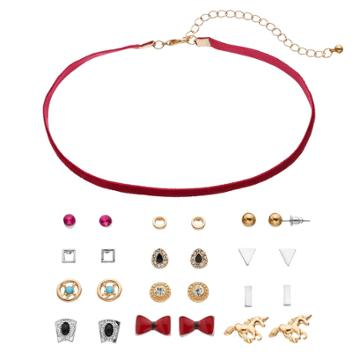 Mudd® Velvet Choker Necklace & Unicorn Stud Earring Set, Women's, Red