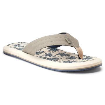 Men's Dockers Palm Tree Flip-flop Sandals, Size: Large, Beig/green (beig/khaki)