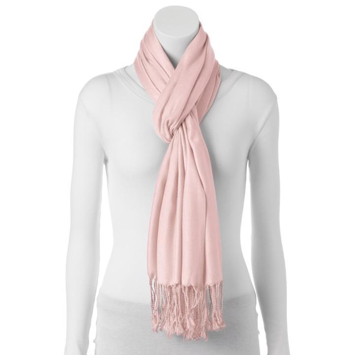 Twill Pashmina Wrap, Women's, Light Pink
