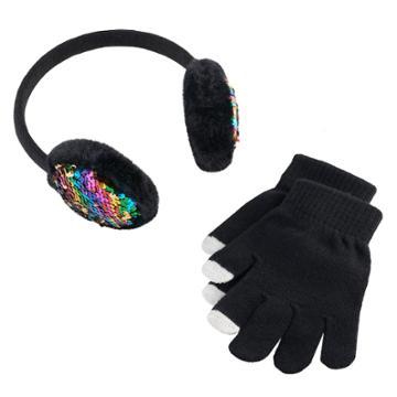 Girls 4-16 Sequin Earmuffs & Gloves Set, Black