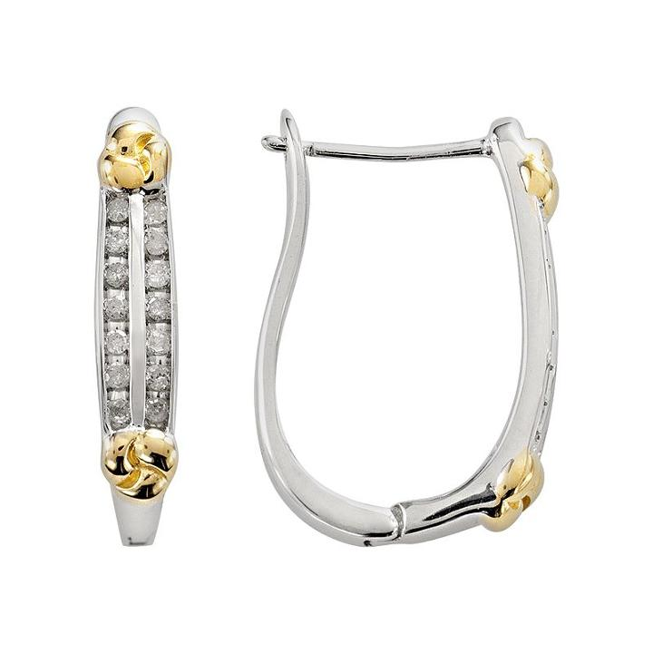 14k Gold Over Silver And Sterling Silver 1/4-ct. T.w. Diamond U-hoop Earrings, Women's, White