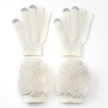 So® Girls Texting Gloves & Handwarmers Set, Girl's, Size: Small, White Oth