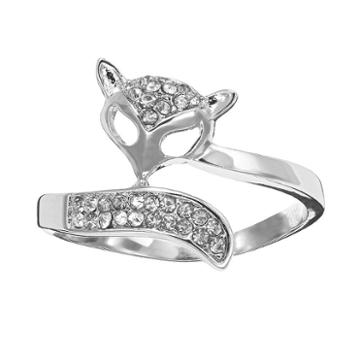 Silver Tone Simulated Crystal Openwork Fox Ring, Girl's, Size: 7, Multicolor