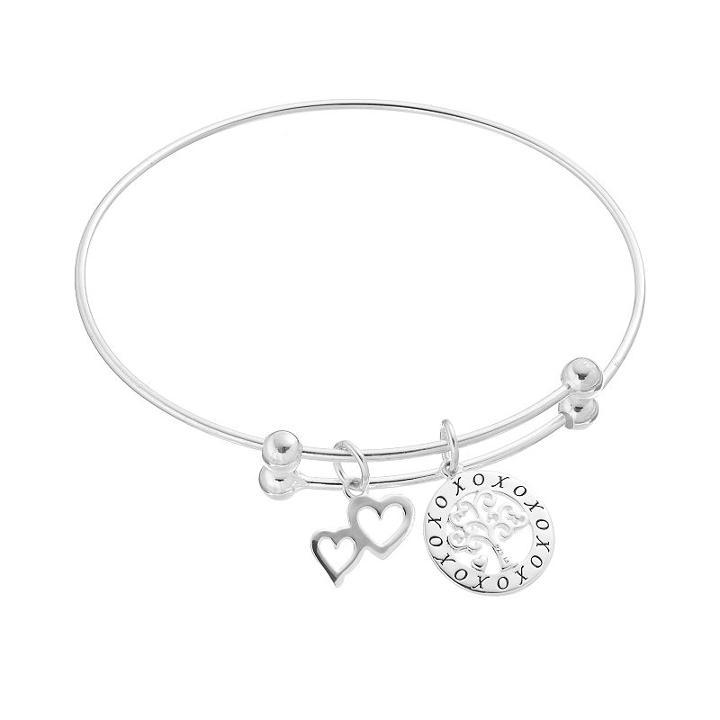 Sterling Silver Family Tree & Double Heart Charm Bangle Bracelet, Women's
