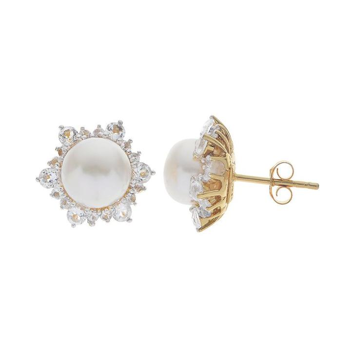 Pearlustre By Imperial 14k Gold Over Silver Freshwater Cultured Pearl Stud Earrings, Women's, White