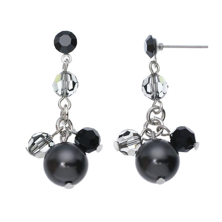 Crystal Avenue Silver-plated Crystal And Simulated Pearl Drop Earrings - Made With Swarovski Crystals, Women's, Black