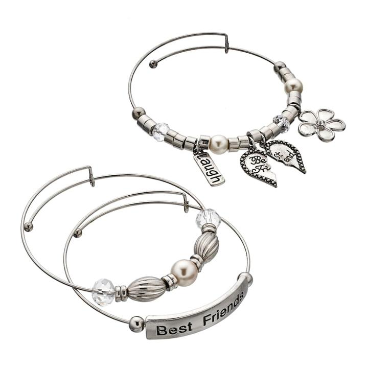 Best Friends Bangle Bracelet Set, Women's, White