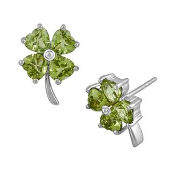 Sterling Silver Peridot Four-leaf Clover Earrings, Women's, Green