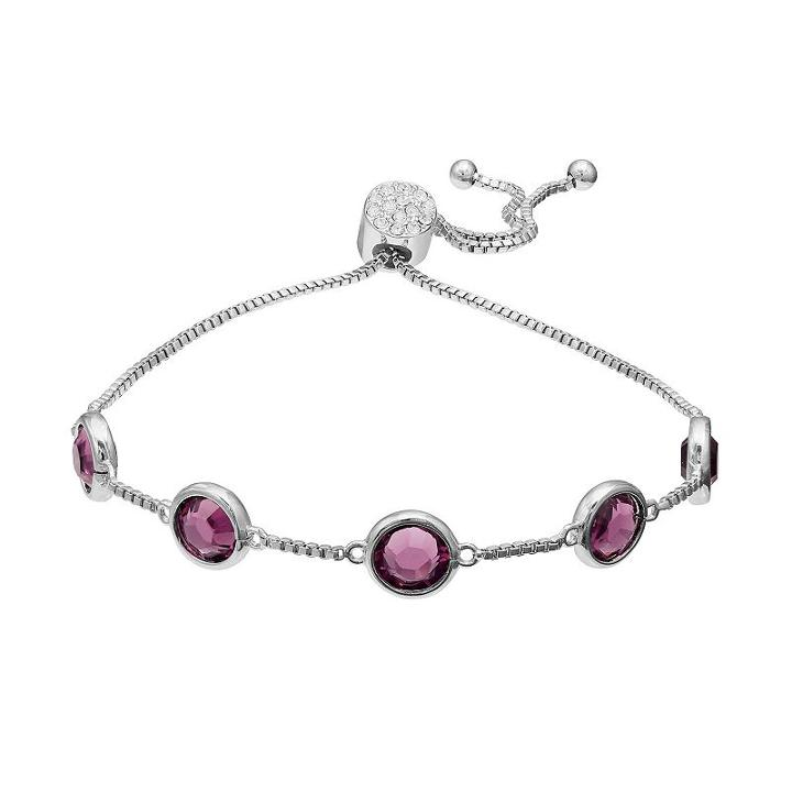 Brilliance Silver Plated Station Bracelet With Swarovski Crystals, Women's, Purple