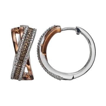 14k Rose And Brown Gold Over Silver And Sterling Silver Textured Crisscross Hoop Earrings, Women's, Pink