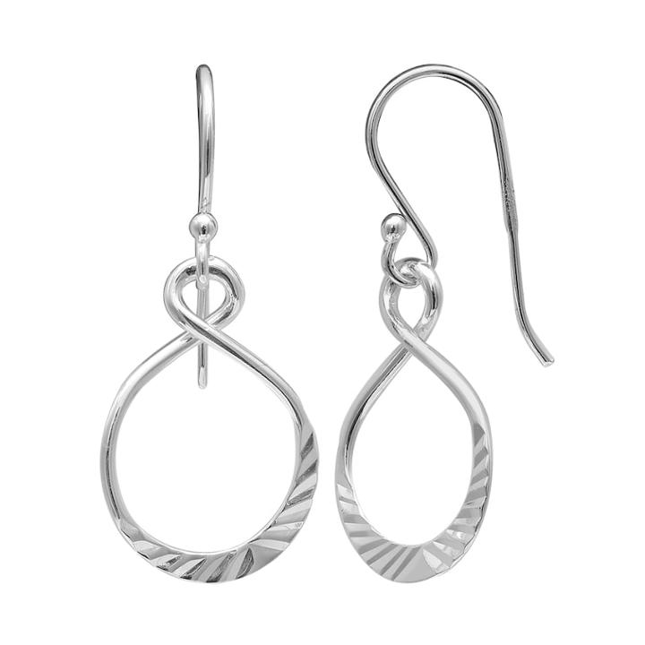 Primrose Sterling Silver Textured Figure Eight Drop Earrings, Women's