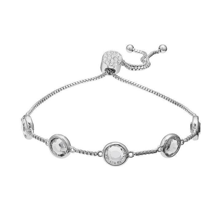 Brilliance Silver Plated Station Bracelet With Swarovski Crystals, Women's, White