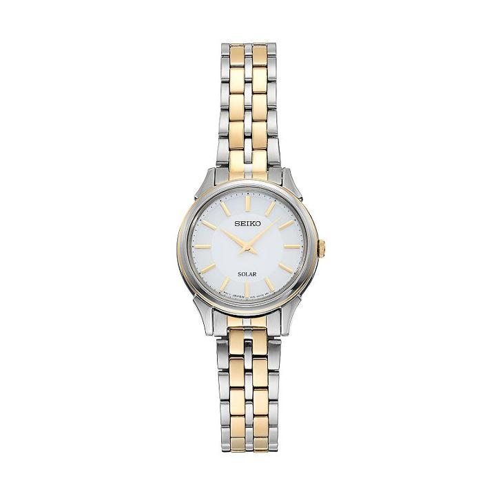 Seiko Women's Slimline Two Tone Stainless Steel Solar Watch, Multicolor