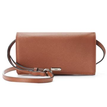 Chaps Kaelyn Saffiano Flap Crossbody Bag, Women's, Dark Brown
