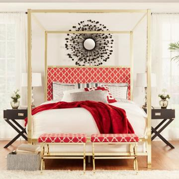 Homevance Barton Hills 83 Canopy Bed, Red