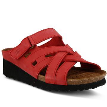 Spring Step Sabra Women's Wedge Footbed Sandals, Size: 39, Med Red