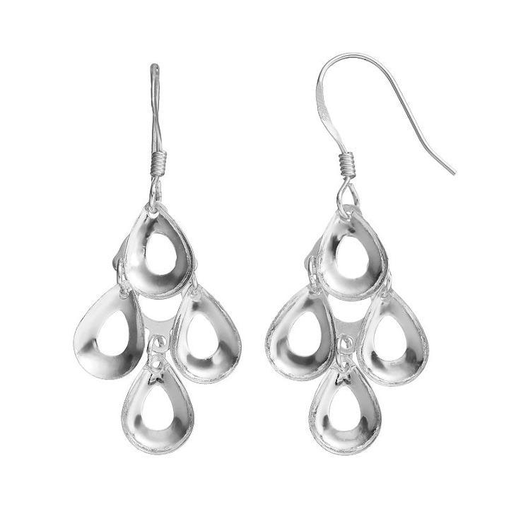 Sterling Silver Teardrop Kite Earrings, Women's, Grey