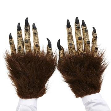 Adult Brown Hairy Beast Costume Latex Hands, Men's, Size: Standard, Multicolor