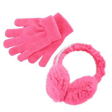 Girls 4-16 Faux-fur Sequin Halo Earmuffs & Gloves Set, Dark Pink
