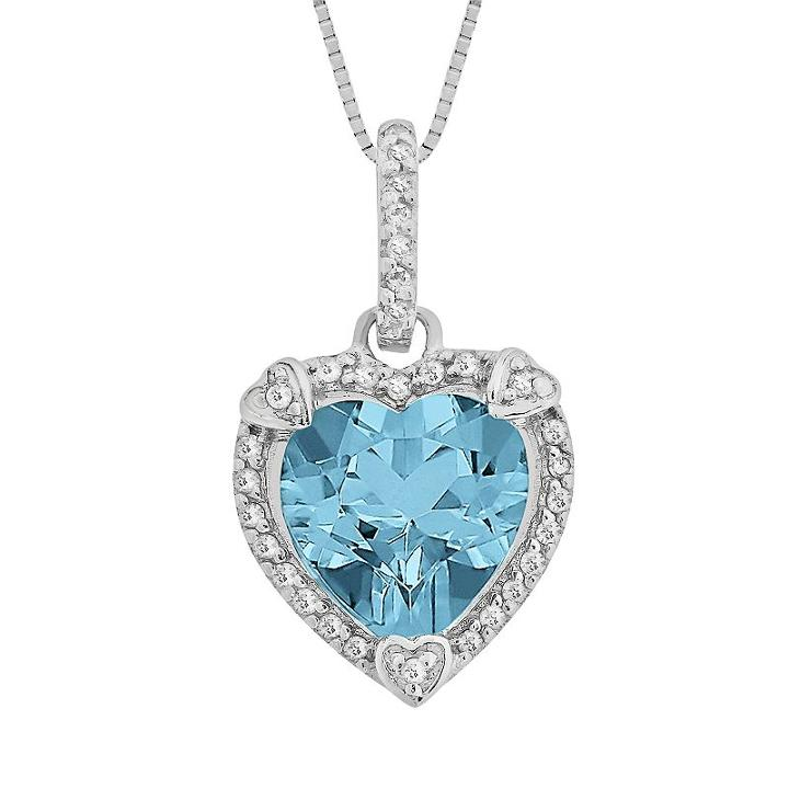 Sterling Silver Blue Topaz And Diamond Accent Heart Frame Pendant, Women's, Size: 18