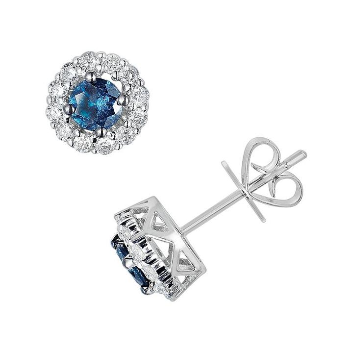 10k White Gold 1-ct. T.w. Blue And White Round-cut Diamond Frame Stud Earrings, Women's