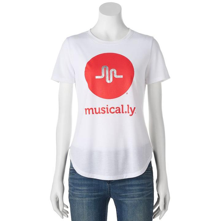 Juniors' Musical. Ly Logo Graphic Tee, Girl's, Size: Xl, White