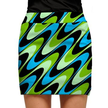 Women's Loudmouth Aqua Printed Golf Skort, Size: 12, Black
