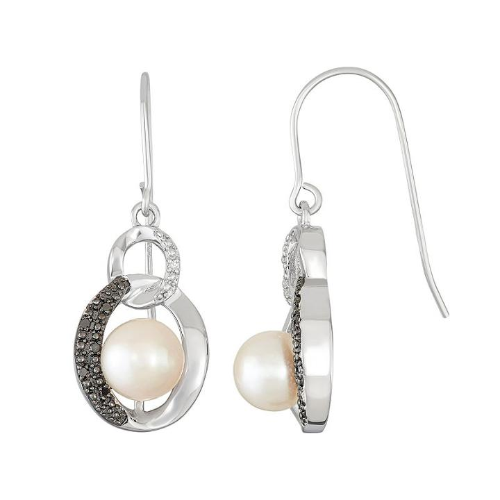 Sterling Silver Freshwater Cultured Pearl Circle Drop Earrings, Women's, Black