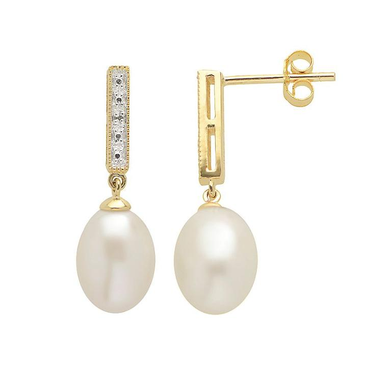 Pearlustre By Imperial Freshwater Cultured Pearl And Diamond Accent 14k Gold Over Silver Drop Earrings, Women's, White