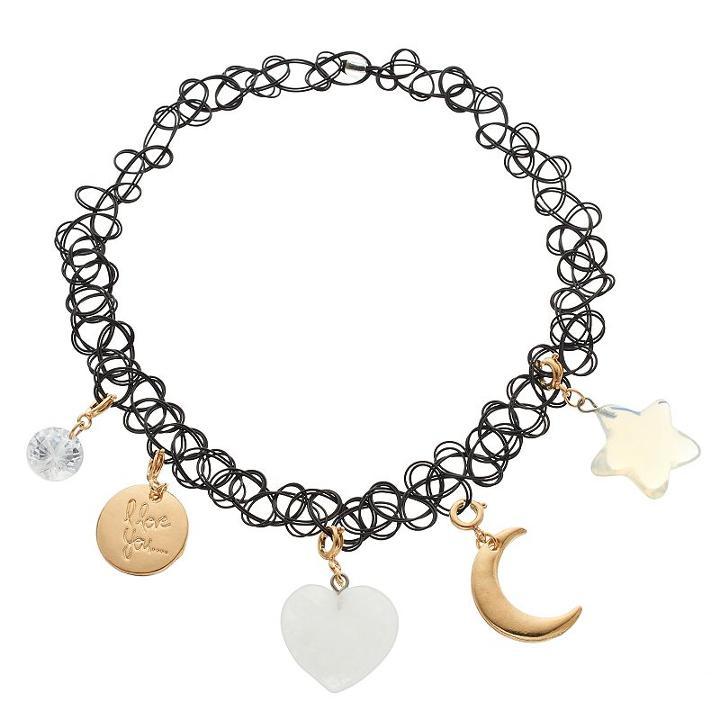 Mudd® I Love You, Heart, Star & Crescent Charm Tattoo Choker Necklace, Women's, Multicolor