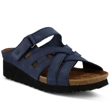 Spring Step Sabra Women's Wedge Footbed Sandals, Size: 37, Blue (navy)