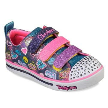 Skechers Twinkle Toes Shuffles Sparkle Glitz Girls' Light Up Shoes, Size: 1, Red Overfl