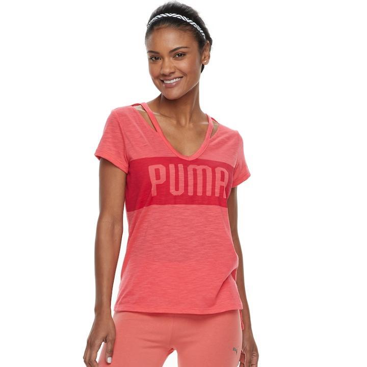 Women's Puma Spark Strappy Neck Graphic Tee, Size: Xl, Pink