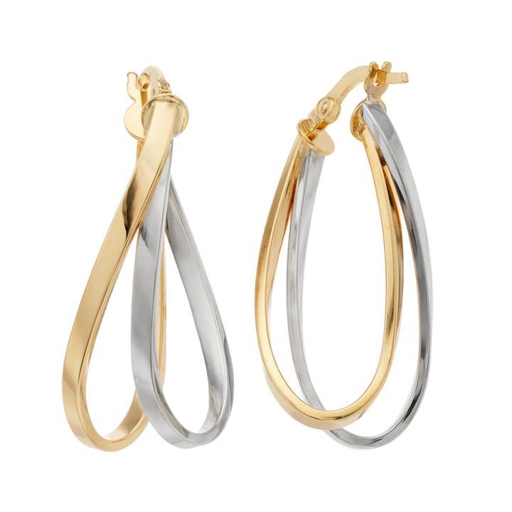 Forever 14k Two Tone Oval Hoop Earrings, Women's, Gold