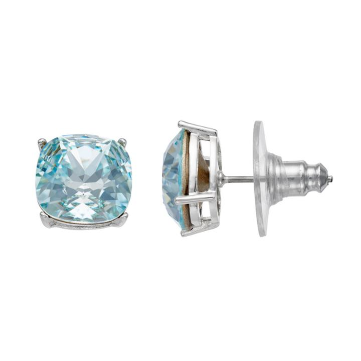 Brilliance Silver Plated Stud Earrings With Swarovski Crystals, Women's